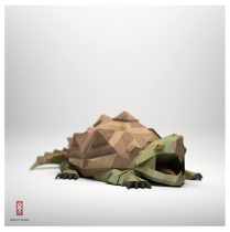 3D Origami Paper snapping turtle