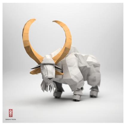 3D Origami Paper water buffalo