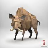 3D Origami Paper wild boar