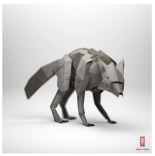 3D Origami Paper wolf
