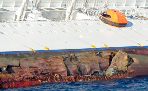 Gashes in the hull of the Costa Concordia, off the west coast of Italy, on January 14, 2012. (Reuters/Stringer)