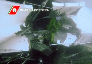 A breach is seen on the body of the cruise ship Costa Concordia in this underwater photo released by the Italian Coast Guard on January 16, 2012. (AP Photo/Italian Coast Guard)
