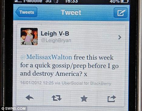 Leigh Van Bryan tweet