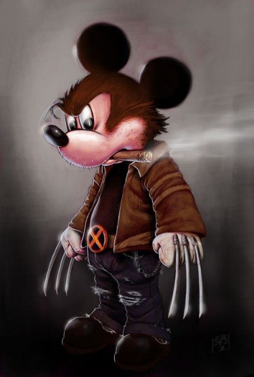 Mickey Mouse as the Wolverine in Xmen