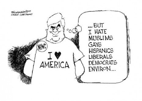 Political cartoon on Newt racism I love America but hate