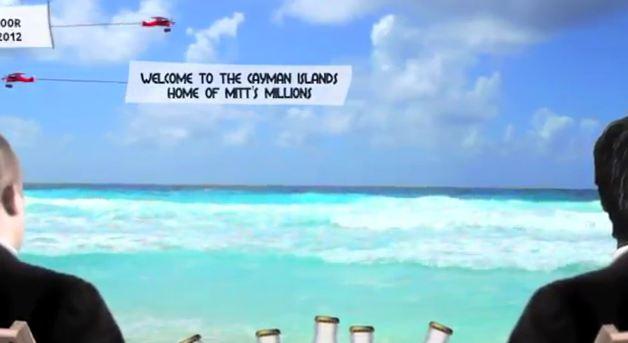 Romney Gekko Ad believe in America hide our money in the Caribbean