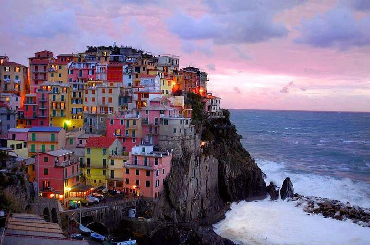 Colorful homes on cliff