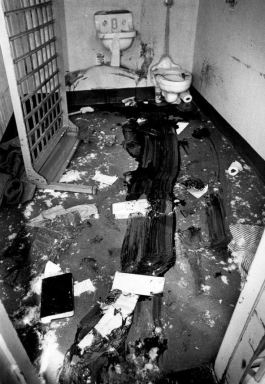 Historical photo Santa Fe Old Main prison Bloody cell