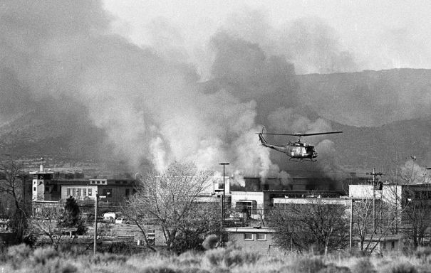 Historical photo Santa Fe Old Main prison helicopter flying overhead