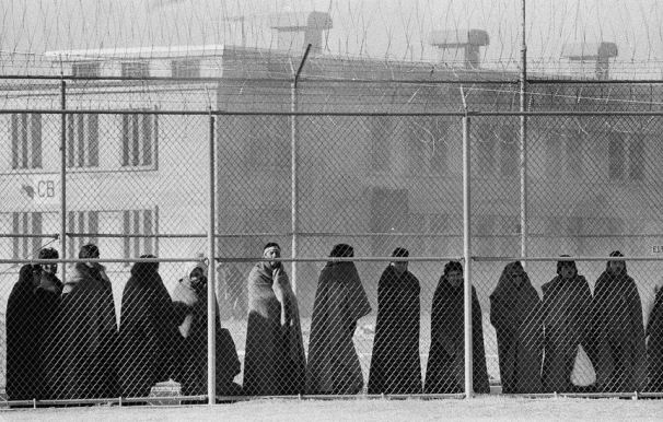 Historical photo Santa Fe Old Main prison inmates outside