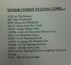 Hump Day humor Senior citizens texting codes