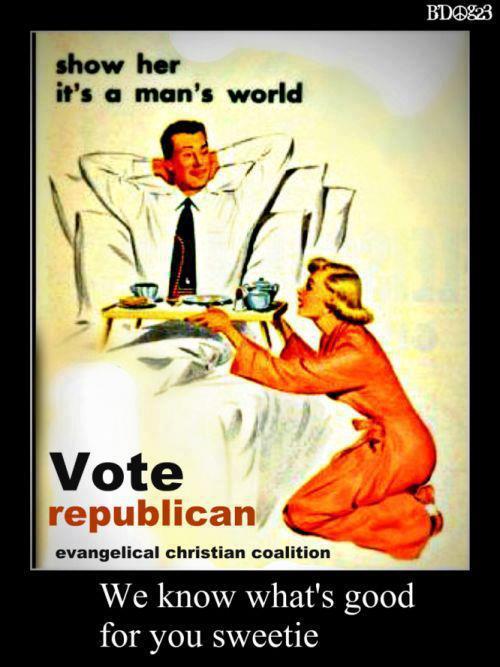 Hump Day humor Vintage ad woman serving man Vote Republican