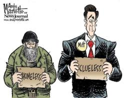 Hump Day Political cartoon Mitt clueless next to homeless man