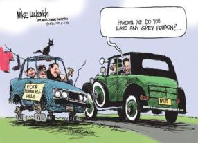 Hump Day Political cartoon Mitt Romney rich asking for grey poupon from poor