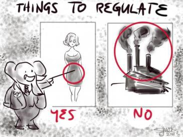 Hump Day political cartoon_Image things to regulate_Womens body versus polluting corporations