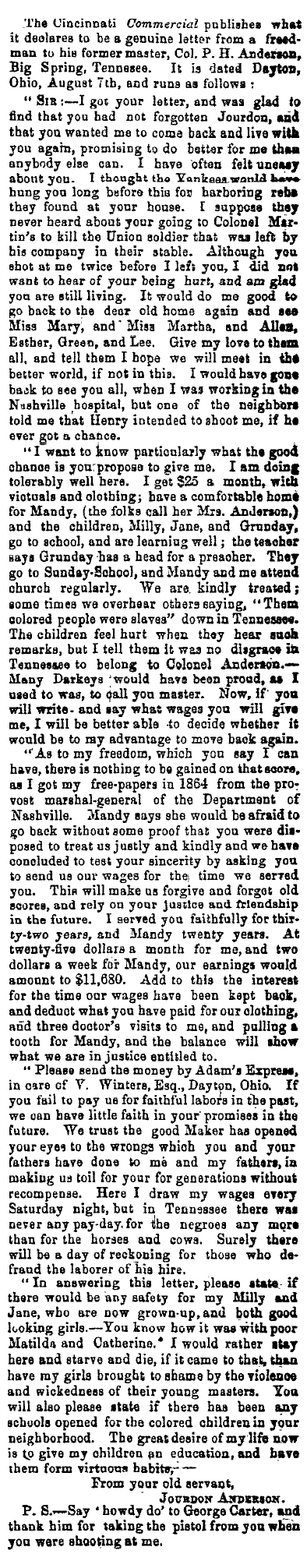 Letter from Jourdon Anderson to Colonel PH Anderson newspaper print