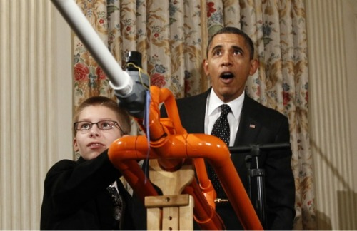 Obama in shock and awe over mashmallow cannon