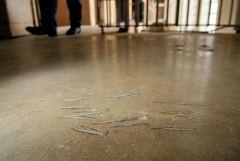 Old Main Prison Santa Fe NM ax marks in floor