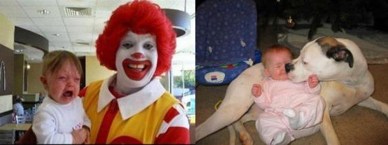 Photo of baby crying in Ronald McDonald's arms and a content baby laying with a pit bull