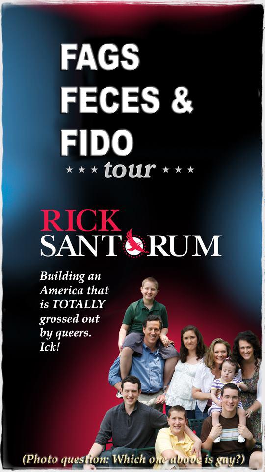 Santorum fags feces and fido caption