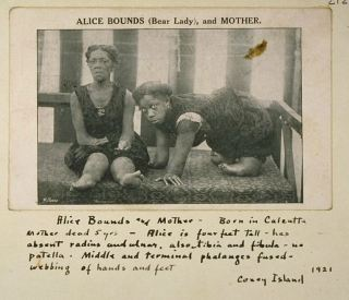 Alice Bounds (Bear Lady) and Mother, with notes, circus acts