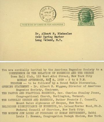American Eugenics Society, invitation to Conference on the Relation of Eugenics and the Church