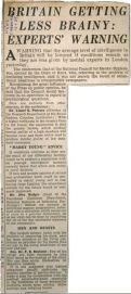 Britain Getting Less Brainy Experts' Warning, News Chronicle 1939 12 01