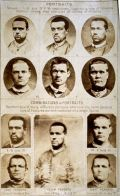 Composite portraits showing features common among men convicted of crimes of violence, by Francis Galton, with original photographs