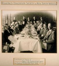 Eugenics Education Society of New South Wales luncheon in honor of CB Davenport standing 2nd from left, Sydney, Australia 1914 0925