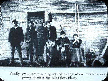 Family group from a long-settled valley where much consanguineous marriage has taken place