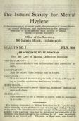 Indiana Society for Mental Hygiene Bulletin No. 7 (July 1920), statistics on mental illness and feeblemindedness in institutions around the US