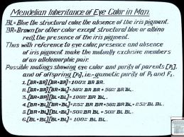 Mendelian inheritance of eye color in man