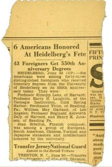 Newspaper clipping about H. Laughlin's honorary degree from the University of Heidelberg