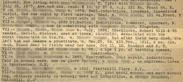 Prison mug shot of VII20 and corresponding entry in Estabrook's typescript The Jukes Data 02