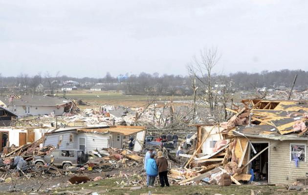 Residents take in some of the damage after a severe storm hit in the early morning hours on February 29, 2012, in Harrisburg, Illinois. UPI/Paul Newton/The Southern