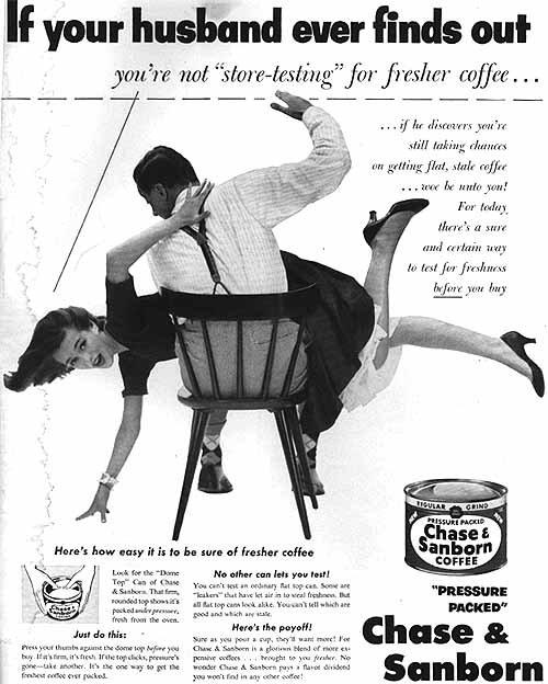 Vintage Ad Chase and Sandborn coffee husband spanking wife