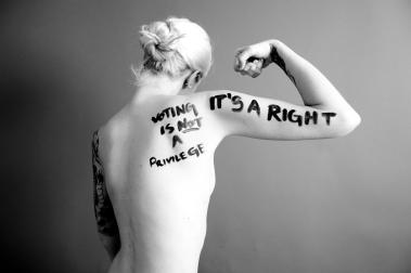 War on Women body message 09 voting is not a privilege it's a right