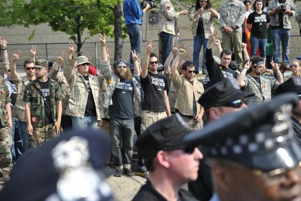 NATO Protest Chicago Veterans returning medals 05