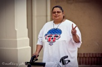 War on Women Santa FE NM 02 Jen throwing a peace sign