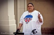 War on Women Santa FE NM 02 Jen throwing a peace sign