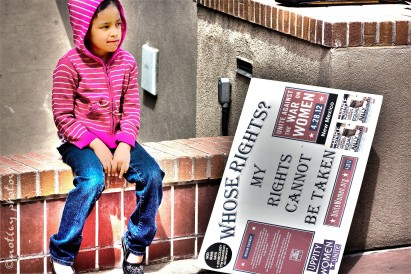 War on Women Santa FE NM 28 Child next to sign