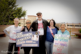 War on Women Santa FE NM 42 Line up photo with signs