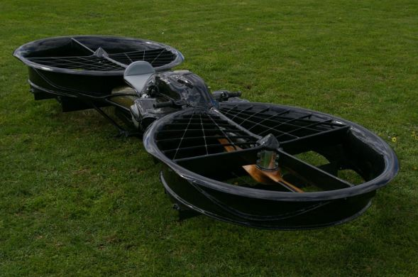 Hoverbike angle shot laying on the ground