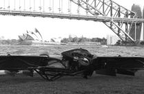 Hoverbike black and white photo Sydney Opera House in the background