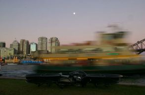 Hoverbike boat blur in background photo by the bay