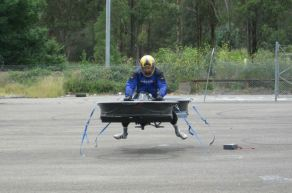 Hoverbike front view tethered to the ground