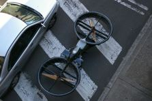 Hoverbike overhead view size comparison to a car