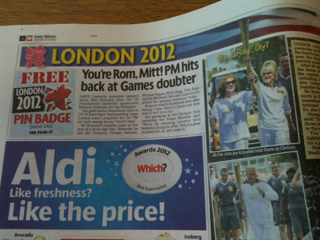 "The Daily Mirror ""You're Rom, Mitt! PM hits back at Games doubter"""
