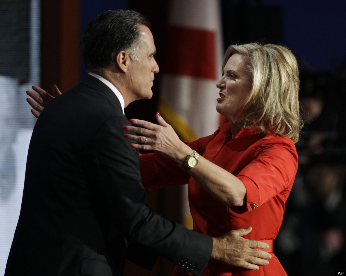 Ann Romney getting ready to kiss Mitt