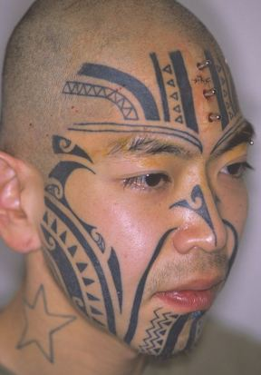 Face tattoo and studs forehead body modification Japan 1